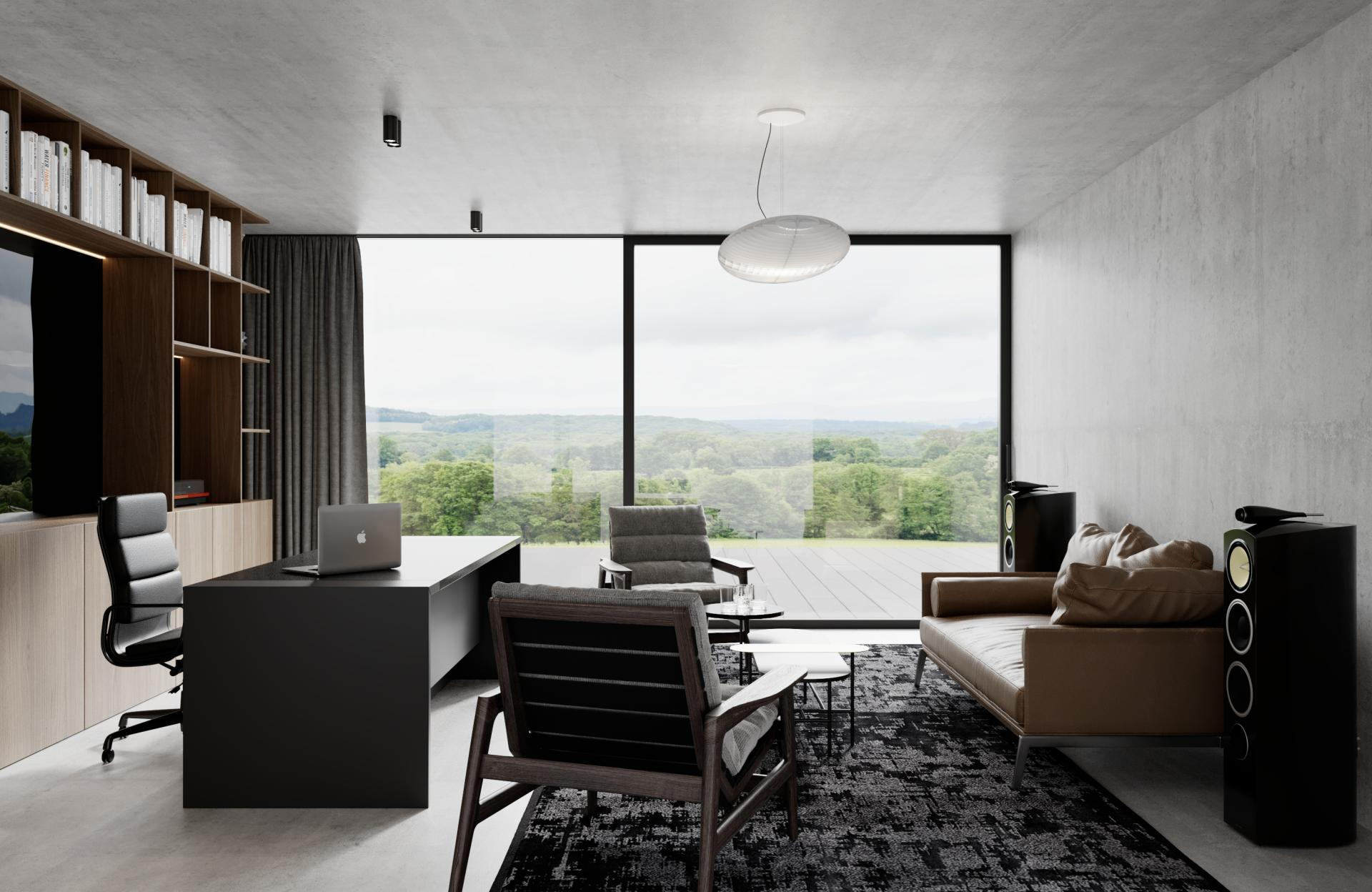 Kompletný návrh rodinnej rezidencie, časť pracovňa - Trenčín